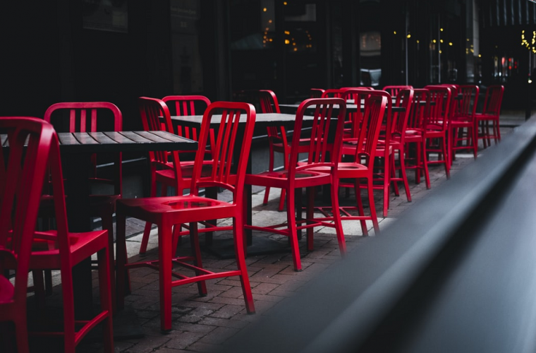 Chairs and tables outside a restaurant