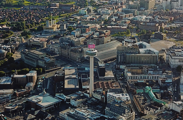 Ariel photograph of Liverpool city centre