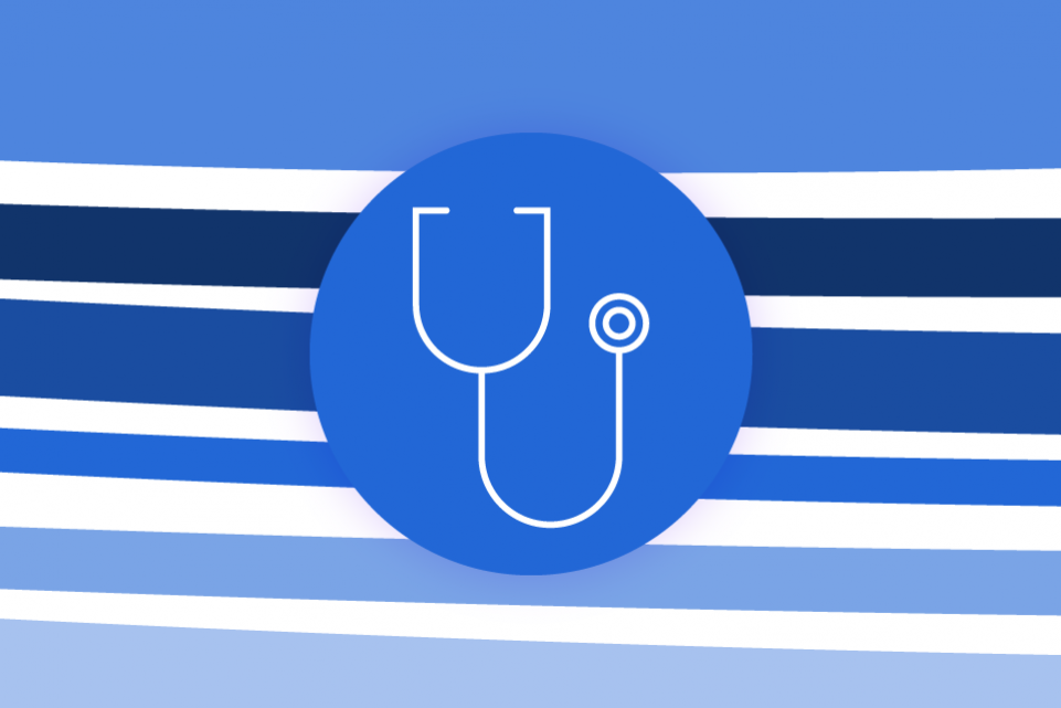 Blue stripes on a white background and a blue icon of a stethoscope in the foreground